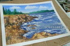 """""""Cliffs and the Sea"""" by Lorel Lee.  Www.lorellee.com"""