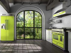 steel's genesi steam oven, range hood and refridgerator in lime green ~ stainless steel