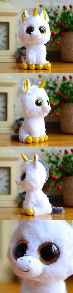 Ty Beanie Boos Kids Plush Toys Big Eyes White Unicorn Lovely Children Gifts Kawaii Stuffed Animals Dolls Cute Christmas Present