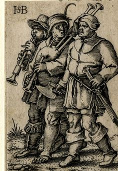 1531 - 50 Sebald Beham - The Wedding Procession - Two musicians, a shawm player, and a bagpipe player together with a male figure holding an axe walk to left; from a series of eight engravings.