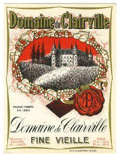 Domaine de Clairville (Beverage Label) by Artist Unknown | Shop original vintage #posters online: www.internationalposter.com