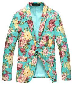 ****Cyan Blue Fashionable Floral Print Blazer of High Quality And Style | www.pilaeo.com #men's #luxury #fashion
