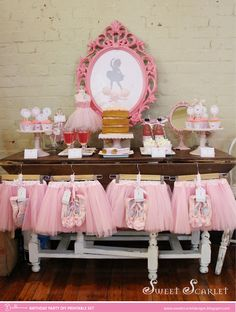TUTU Birthday Party Printables  - Cupcake Toppers, Favor Tags, Food Tents and more - Print Your Own - DIY