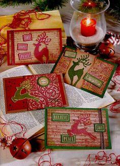 Christmas Mail Art Postcards by Rachel Greig using Darkroom Door Christmas Reindeer Rubber Stamps. Featured in Cardmaking, Stamping & Papercraft magazine.