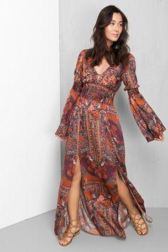 vestido longo estampado jasmine