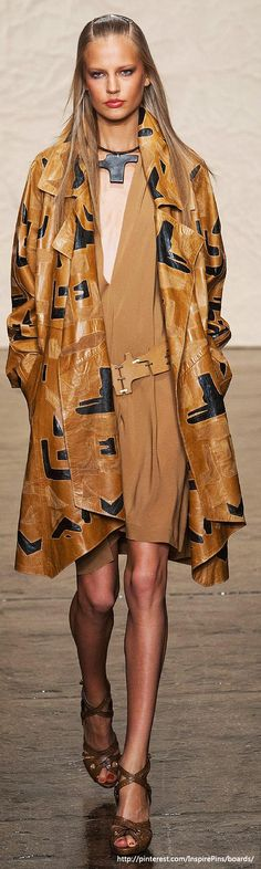 Spring 2014 RTW Donna Karan Collection. Love the coat. The model is too damned thin...and looks miserable. Sometimes I hate the runway!