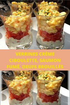 Verrines crème ciboulette, saumon fumé, oeufs brouillés Brunch Party, Entrees, Cereal, Appetizers, Pudding, Snacks, Breakfast, Desserts, Food