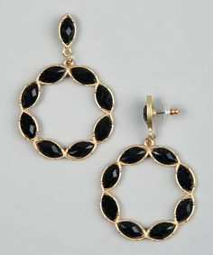 Gold & Black Stone Circle Earrings by Marlyn Schiff on #zulily