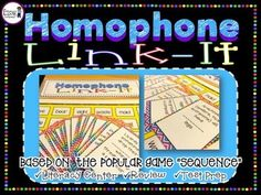 """Homophone Link-It Board Game!   Based on the popular game """"Sequence""""!  •Literacy Center  •Test Prep  •Vocabulary  •Review  $"""
