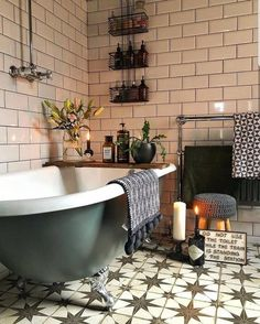 Boho Bathroom Done With Pretty Moroccan Tiles Plus Potted Plants And Blooms bathroom decor moroccan style Chic Bathrooms, Modern Bathroom, Small Bathroom, Bathroom Ideas, Rental Bathroom, Bathroom Green, Bathroom Canvas, Vanity Bathroom, Bathroom Plants