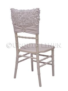 Curly satin embroidery chair cap for chivari chair. We customize our chair back to fit any style chair and we have more styles available at Urquid linen. Chair Back Covers, Chair Backs, Dining Chairs, Curly, Satin, Cap, Pillows, Linens, Centerpieces
