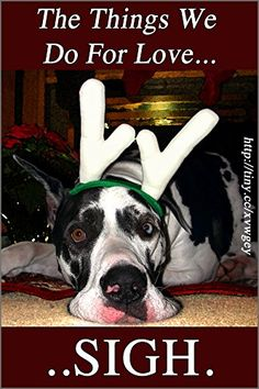 ANTLER DOG SIGH, A FUNNY GREAT DANE DOG HUMOR MAGNET FOR…