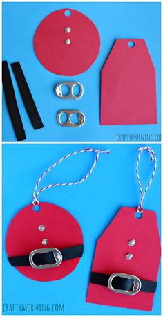Christmas Crafts - DIY Santa Clause Gift Tags Using Soda Can Tabs! Cheap Christmas craft for kids t. Christmas Crafts For Kids, Christmas Wrapping, Homemade Christmas, Christmas Projects, Holiday Crafts, Holiday Fun, Christmas Holidays, Christmas Cards, Christmas Decorations