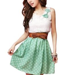 #Beautiful casual summer dress 2013 by #AllegraK featuring white lace top with a bow and short green polka dot skirt. Perfect for lunch with the girls or a lunch #date. Price: $9.81 – $11.05