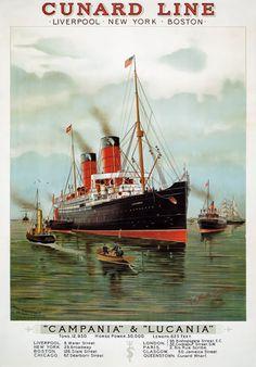 TX157-Vintage-Cunard-Line-Campania-Lucania-Cruise-Travel-Poster-Re-Print-A4