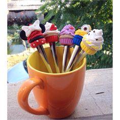 Muffin minion gru minnie minniemouse mug spoon polymer clay handmade homemade fimo