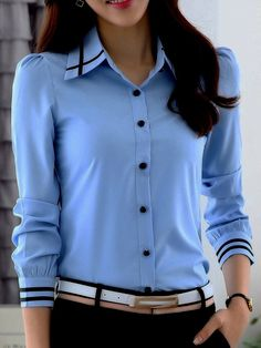 Autumn Spring Chiffon Turn Down Collar Plain Long Sleeve Blouses Casual Outfits, Cool Outfits, Fashion Outfits, Fashion Trends, Professional Outfits, Business Outfits, Blouse Designs, Blouses For Women, Dame