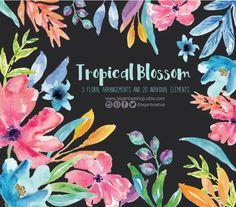 https://www.etsy.com/mx/listing/289008067/flores-en-acuarela-clipart-png-pintadas #tropicalflowers #floral #watercolor #handpainted #blossom #design #invitations #bridal #art