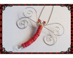 Check out Howlite & Crystal Dragonfly Pendant Necklace - Handmade Wire Wrapped - Light Siam Red - Made in the USA! - Gift on ladavisjewelry