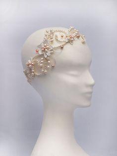 Bohemian Bridal Headdress, Boho Bridal Headpiece, The Evangelina blush Bridal Halo Headpiece