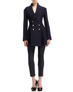 Alexander McQueen Knit Ribbed-Detail Shawl-Collar Sweater Coat & Side Contrast-Stripe Cropped Jeans