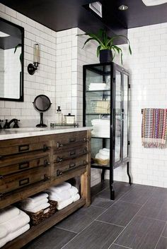 Black and White Subway Tile Bathroom . 30 Amazing Black and White Subway Tile Bathroom . Black and White Tile Bathroom Decorating Ideas New Mid Century Bathroom Renos, Basement Bathroom, Bathroom Remodeling, Bathroom Furniture, Remodeling Ideas, Remodel Bathroom, Basement Remodeling, Bathroom Bin, Bathroom Makeovers