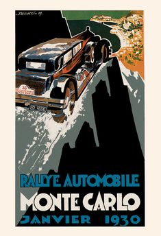 1930 MONTE CARLO POSTER Antique French Car by EncorePrintSociety