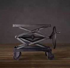 """Industrial Scissor Lift Table Iron, from Restoration Hardware. I didn't link to this because it has """"industrial"""" in the name, but because it just looks badass. Industrial Design Furniture, Industrial Table, Kitchen Industrial, Industrial Loft, Furniture Design, Restoration Hardware, Welding Table For Sale, Metal Scissors, Lift Table"""