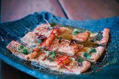 Alaskan King Salmon, Gochujang powder, miso, yuzu vinagrette, micro shiso King Salmon, Vegetable Pizza, Powder, Menu, Vegetables, Food, Menu Board Design, Face Powder, Essen