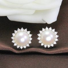Item Item: real freshwater pearl stud earring Pearl size: Pearl shape: button Pearl color: white/white with pinkish tone Pearl Clip On Pearl Earrings, Bridal Earrings, Pearl Jewelry, Crystal Earrings, Silver Earrings, Earring Studs, Bridal Jewelry, Silver Jewelry, Cute Jewelry
