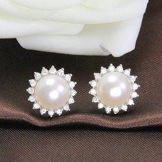 pearl ear stud earring,freshwater pearl earring stud,pearl flower earring,pearl crystal earrings,small pearl earrings,silver earrings studs on Etsy, US$18.00