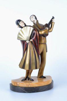 """Roland Paris: art deco cold painted bronze sculpture 12"""" ht x 10"""" x 5.50"""""""
