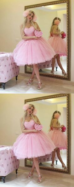 pink homecoming dresses, tulle homecoming dresses, sweetheart homecoming dresses, ball gown, cute homecoming dresses