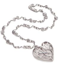 Rhodium heart pendant on chain ($345) ❤ liked on Polyvore featuring jewelry, necklaces, rhodium pendants, heart shaped necklace, heart pendant, heart chain necklace and heart jewelry