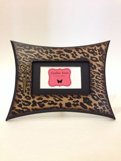 idaho barber cosmetology license frame in leopard print frame is 3x5 and has