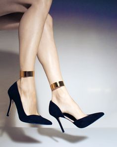 Love and adore these Valentino black heels with gold ankle strap detail. Shoes. High. Heels. Accessories. Fashion.