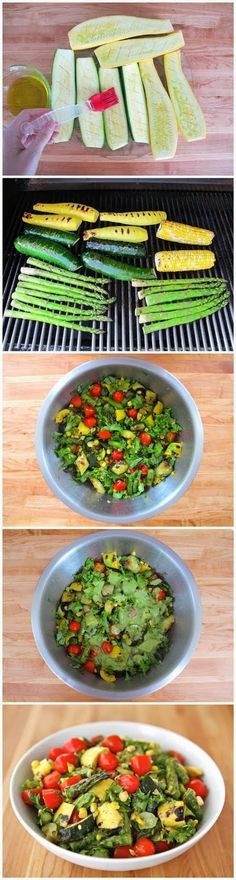Although you can successfully prepare this colorful end-of-summer salad on a gas grill, charcoal will imbue the vegetables with extra flavo... http://grillidea.com/