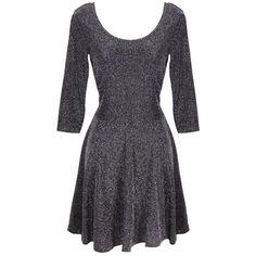 PPB Silver Sparkle Skater Dress (€28) ❤ liked on Polyvore featuring dresses, short dresses, sparkly dresses, silver mini dress, silver sparkly dress and silver skater dress