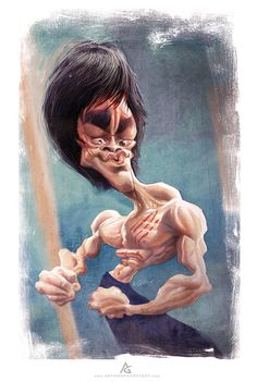 Bruce Lee Caricature fun part Caricature Artist, Caricature Drawing, Funny Caricatures, Celebrity Caricatures, Cartoon Kunst, Cartoon Art, Cartoon Faces, Funny Faces, Bruce Lee