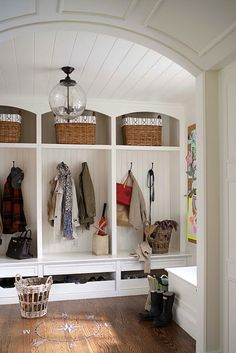 Mud room Design by Lauren Muse, photography by John Bessler via Marcus Design I am a sucker for a mudroom with storage lockers. And beadboard. And white. And great light fixtures. Entryway Storage, Shoe Storage, Coat Storage, Entryway Organization, Storage Drawers, Shoe Shelves, Organized Entryway, Backpack Storage, Basket Storage