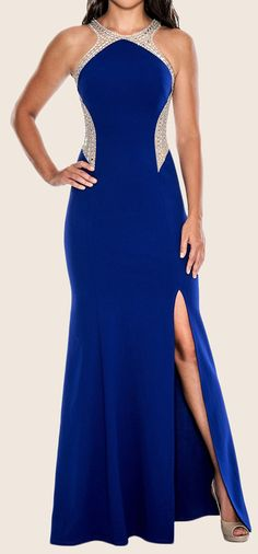 Halter O Neck Sheath Long Prom Dress Royal Blue Formal Gown #macloth #dress #gown #prom #prom2017 #promdress #promgown #eveninggown #eveninggown #formaldress #formalgown