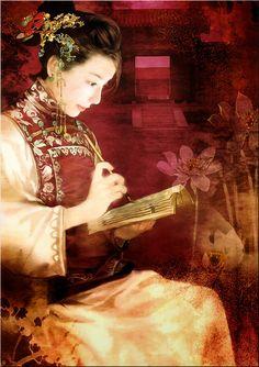 Chinese Beauty by Der Jen (Dezhen) Chinese Painting, Chinese Art, Botanical Illustration, Illustration Art, Portrait Art, Portraits, Chinese Picture, Oriental, Art Asiatique