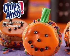 15 mins to make, serves 24 -- INGREDIENTS -- PRODUCE • 1 tsp Orange, zest BAKING & SPICES • 64 Candy-coated chocolate chips (about 3 tbsp.), mini • 2 tbsp Halloween sprinkles • 1/4 cup Powdered sugar SNACKS • 1/3 cup Candy coating wafers, orange • 16 Chips ahoy! cookies DAIRY • 4 oz Neufchatel cheese DESSERTS • 8 cut into pieces 1 piece green licorice, green