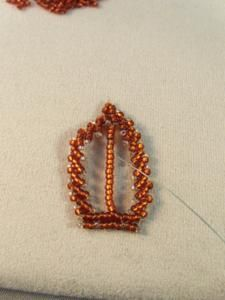 A tutorial on how to make Russian-style beadwoven leaves using St. Petersburg stitch.: Add the Center Branch of the Leaf First