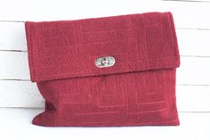 Cherry clutch with embroidered abstract pattern in rectangles. Ready to ship.