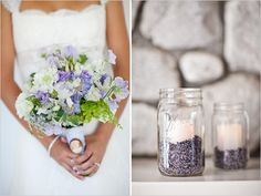 whats in those jar's? i like them to sit next to the center piece lilac, but than i like the idea of candles with tied ribbon.......