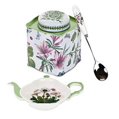 Portmeirion Botanic Garden 3-Piece Tea Accessory Set           $ 21.25 Tea Sets Product Features Set Includes 1 Each, Spoon Rest, Spoon and Tea Tin Spoon Rest 5.75″/Spoon 6″/Tin Caddy 4″ x 3.5″ All Three Items, Gift Boxed Together Hand wash only Assorted Motifs Tea Sets Product Description In 1972, Portmeirion Founder and Designer, Susan Williams-Ellis, created one of the worlds most popular dinnerware […]  http://www.teasetsale.com/portmeirion-botanic-garden-3-piece-tea-ac..