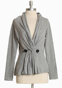 """Brinsley Knitted Cardigan In Gray 63.99 at shopruche.com. A wardrobe essential, this soft heathered gray sweater features a wrapped design with button closures and ribbed trim.  50% Rayon, 45% Acrylic, 5% Wool, Imported, 24"""" length from top of shoulder"""