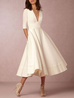 Prom Dress Plus Size Swing Going out Dress Half Sleeve Cotton Solid Dress | $26.95 |