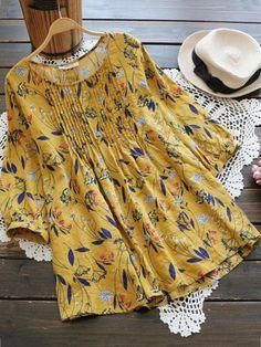 Buy this Gracila Women Floral Print O-neck Three Quarter Sleeve Blouse Vestido Casual, Blouse Styles, Women's Dresses, Dresses Online, Online Clothes, Ladies Dresses, Fashion Dresses, Half Sleeves, Short Sleeves